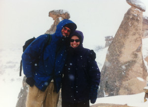 Jorge and I caught in an early spring snowstorm in Cappadocia, Turkey