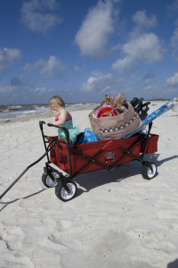 Our wagon packed for a 20-minute trip to the beach