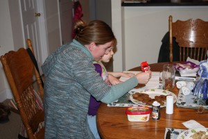 A rare moment of traditional motherhood--decorating cookies with Heidi