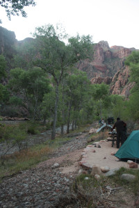 Camping at the base of the Grand Canyon along Bright Angel Creek